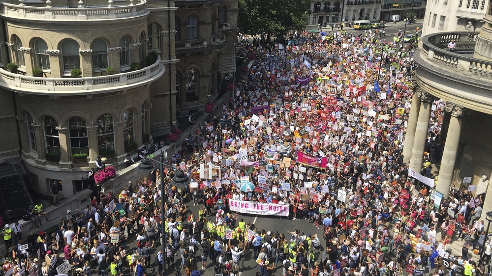 'Together against Trump,' thousands protest peacefully in London
