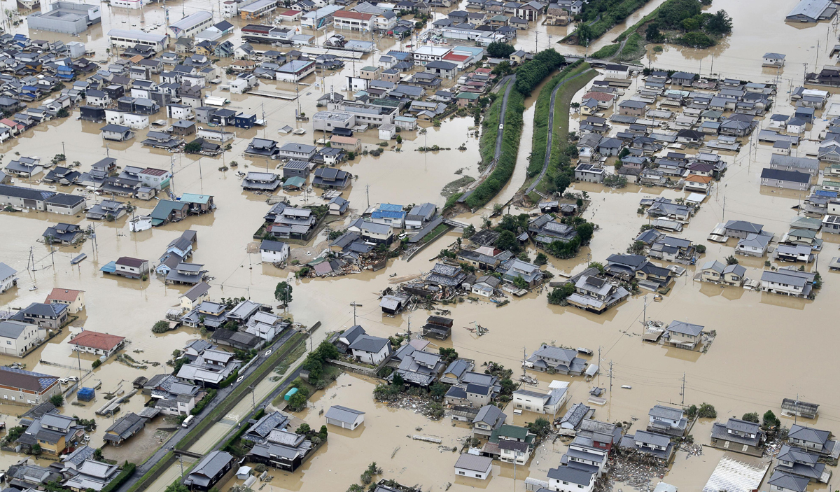 July - At the beginning of the month a typhoon and a stalled rain band combined to give Japan phenomenal amounts of rain, causing flooding and landslides that killed more than 200 people and left tens of thousands without drinking water and electricity. [Kyodo/REUTERS]