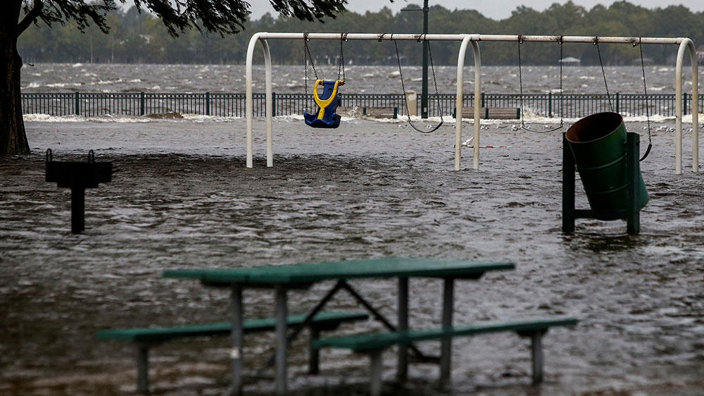 The Union Point Park Complex is seen flooded as the Hurricane Florence comes ashore in New Bern North Carolina