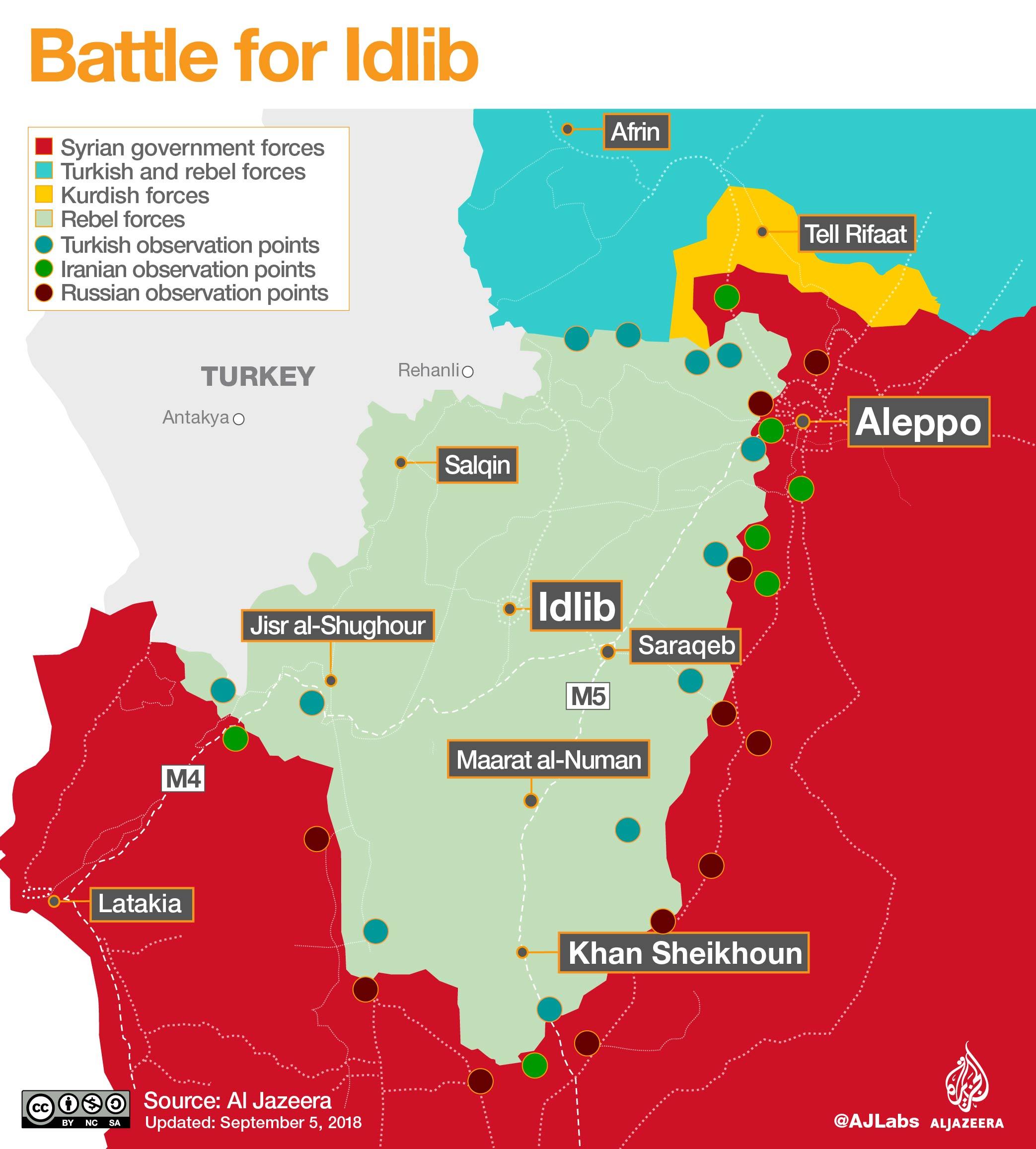 Mappa militare di Idlib al 5/09/2018. Credits to: Al Jazeera.