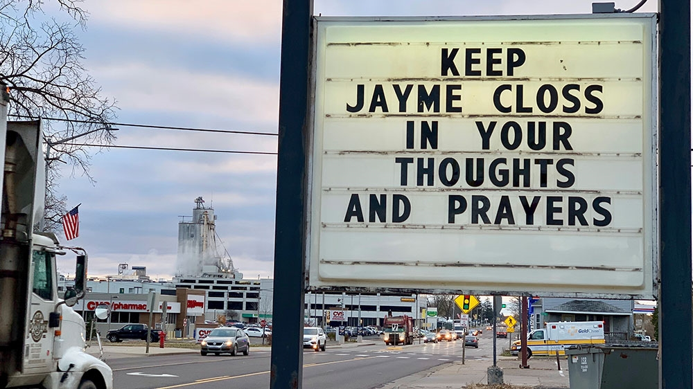 A sign is seen in the small town of Barron Wisconsin where 13-year-old Jayme Closs was discovered missing in October