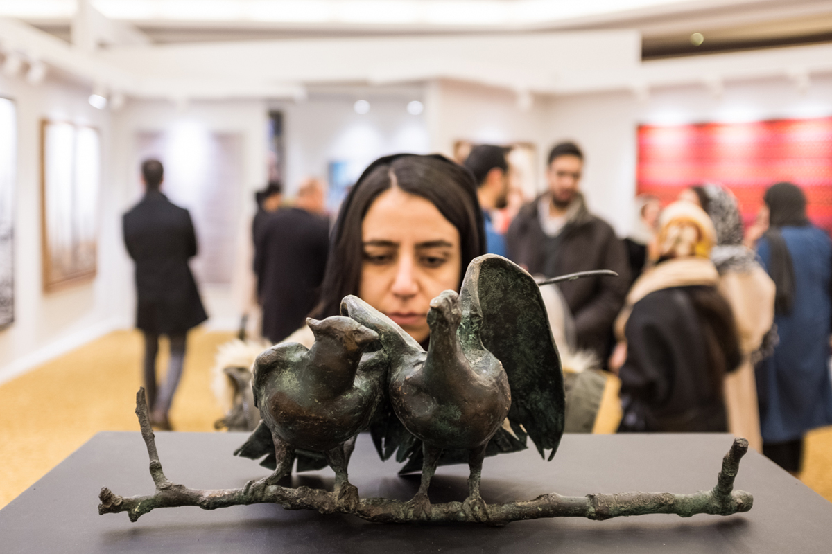 Birds, a sculpture by the late Iranian artist and theatre director Bahman Mohassess, was sold close to $631,000. [Mohammad Ali Najib/Al Jazeera]