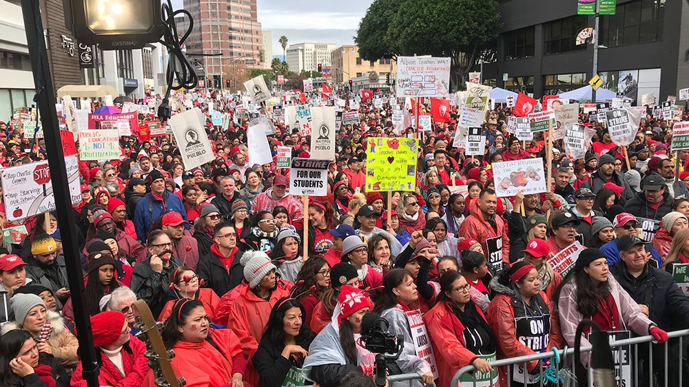 Los Angeles teachers' strike extends to second day as charter teachers join
