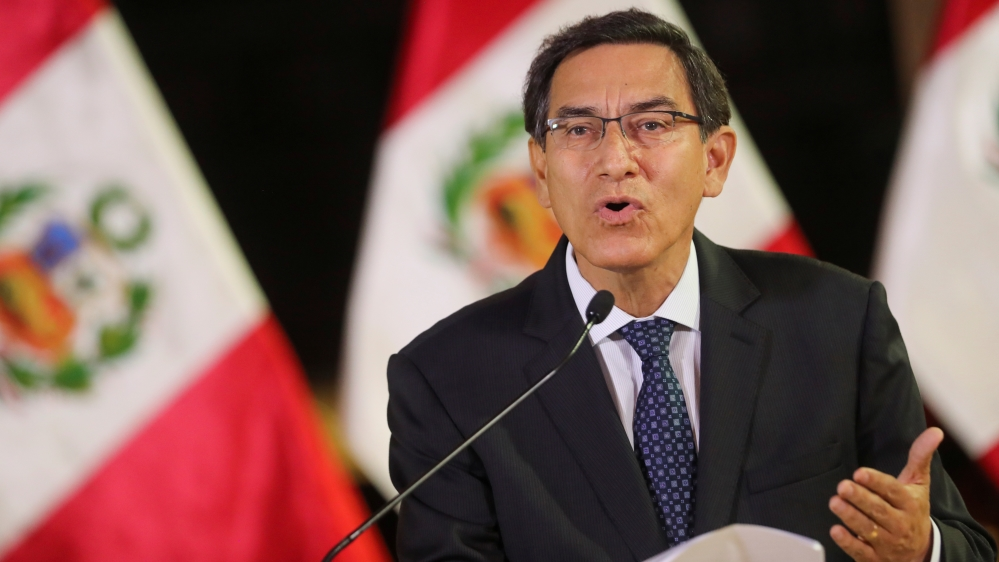 Peru's President Vizcarra addresses the nation at the government palace in Lima
