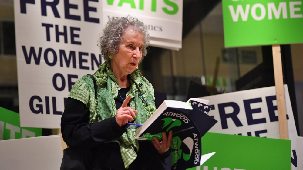 Author Margaret Atwood reads an extract during the launch of her new novel The Testaments at a book store in London, Britain
