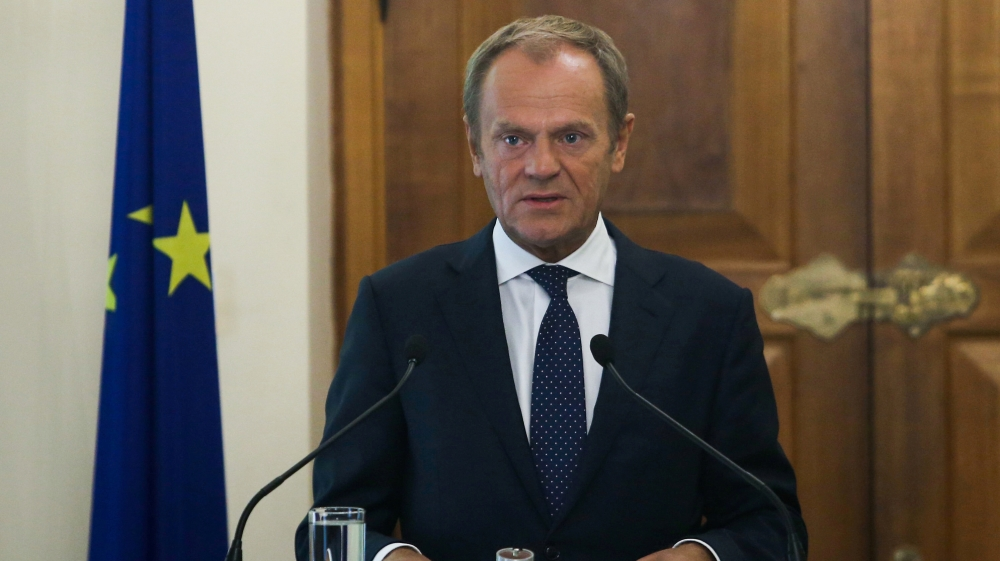 European Council, President Donald Tusk attends a news conference at the Presidential Palace in Nicosia