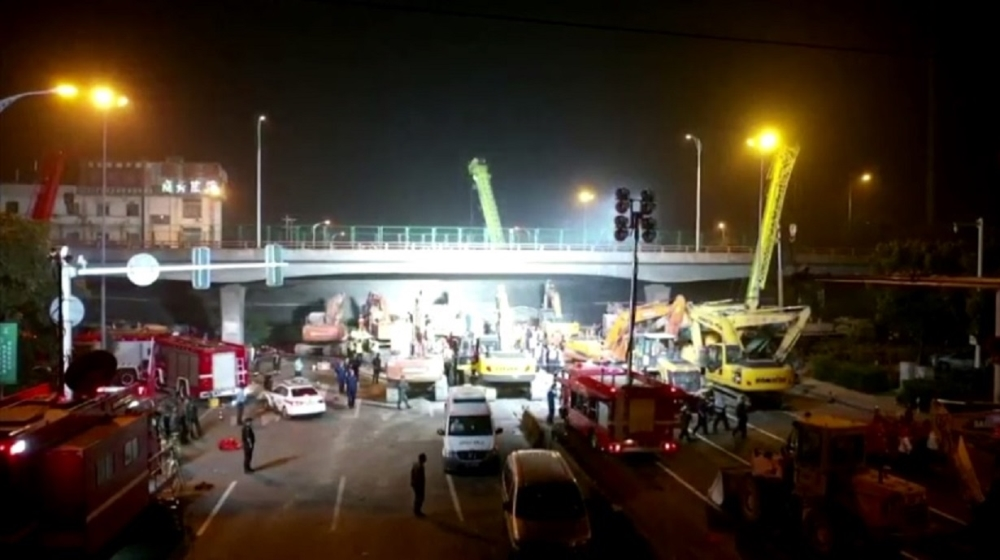 Three dead in east China's highway overpass collapse