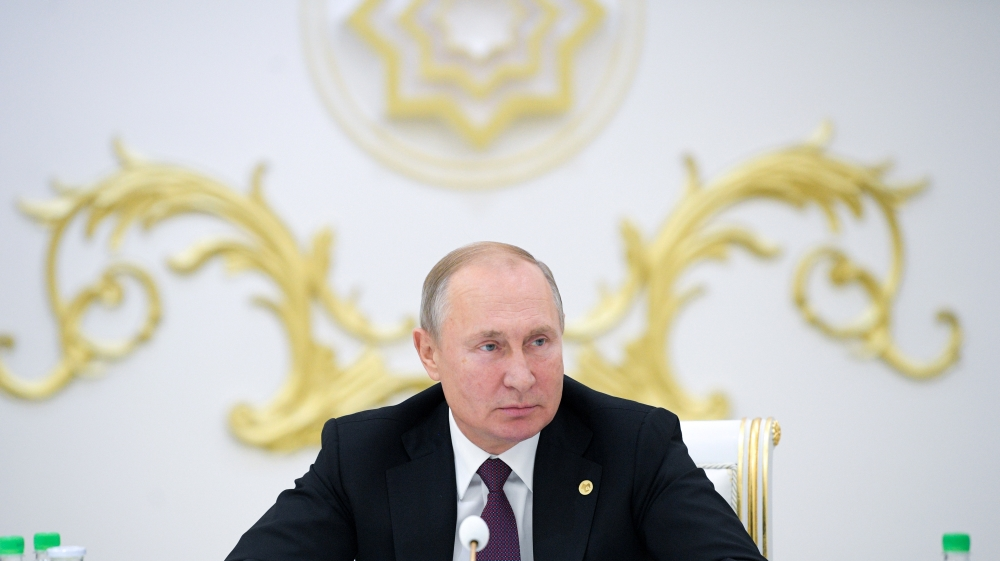Russian President Vladimir Putin attends a meeting of heads of the Commonwealth of Independent States (CIS) in Ashgabat
