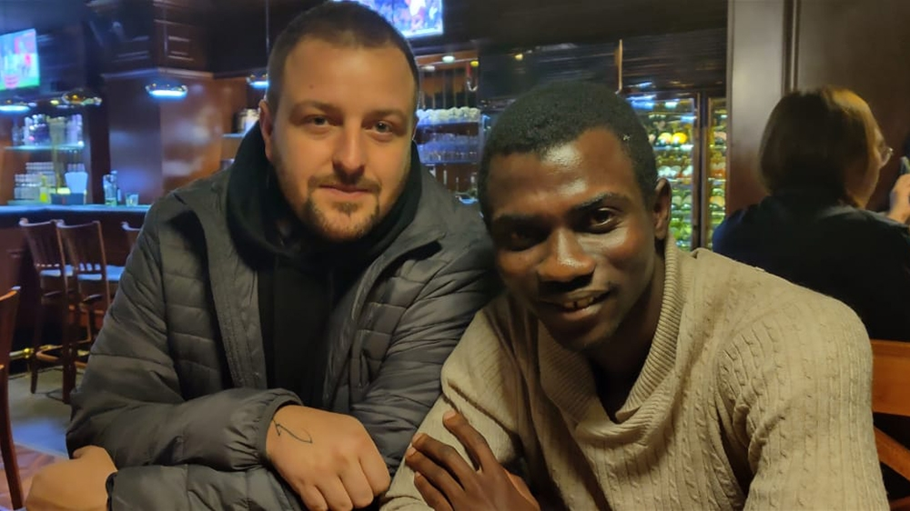 Moshood Afolabi and Christopher Hannah in Mongolia [Courtesy of Christopher Hannah]