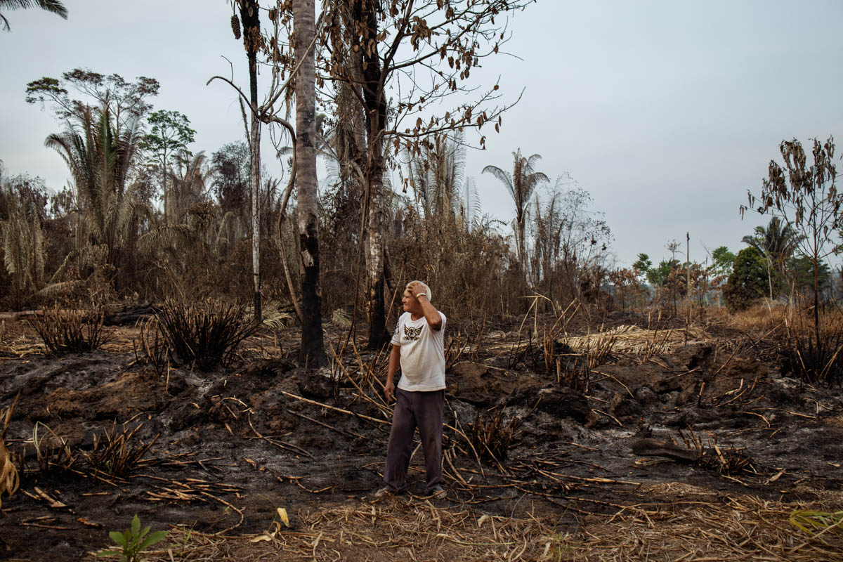 Jelson stands in front of his cassava field burned due to fires in a neighbouring forest in the province of Porto Velho. [Fabio Bucciarelli/Al Jazeera]