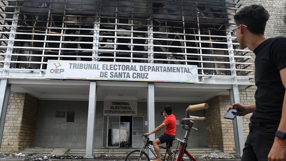 Bolivia protest fire