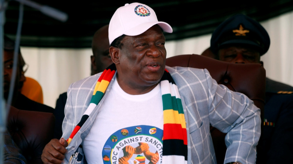 Zimbabwe President Emmerson Mnangagwa attends a rally against Western sanctions in Harare