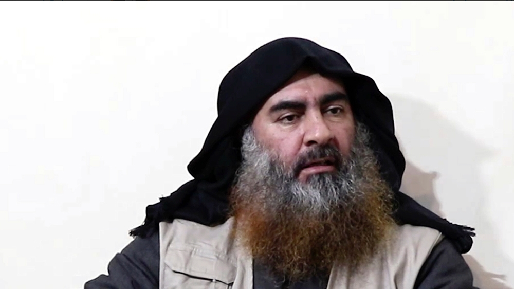 This file image made from video posted on a militant website April 29, 2019, purports to show the leader of the Islamic State group, Abu Bakr al-Baghdadi, being interviewed by his group's Al-Furqan me