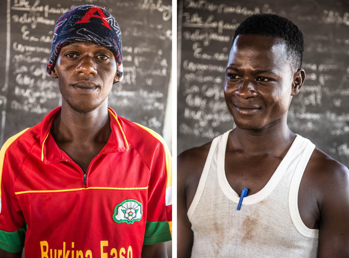 """Left: Kassoum Songne, 30, was charged with possessing a stolen motorbike and sentenced to 48 months in prison. Only his mother knows that he is incarcerated and he has asked her not to tell the rest of his family, including his 14-year-old child. When he is released, he says he would like to become an artist. Right: Zinaba Mady used to work on gold panning sites. One day, he carried out an attempted burglary with a friend. His friend escaped but Zinaba was arrested at the scene and sentenced to six years in prison. He has two years left to serve. """"Often, I get angry, not wanting to talk to anyone,"""" he says. """"But since I've been dancing, I do not live in that kind of feeling any more."""" [Jacob Bonkian Londry/Al Jazeera]"""