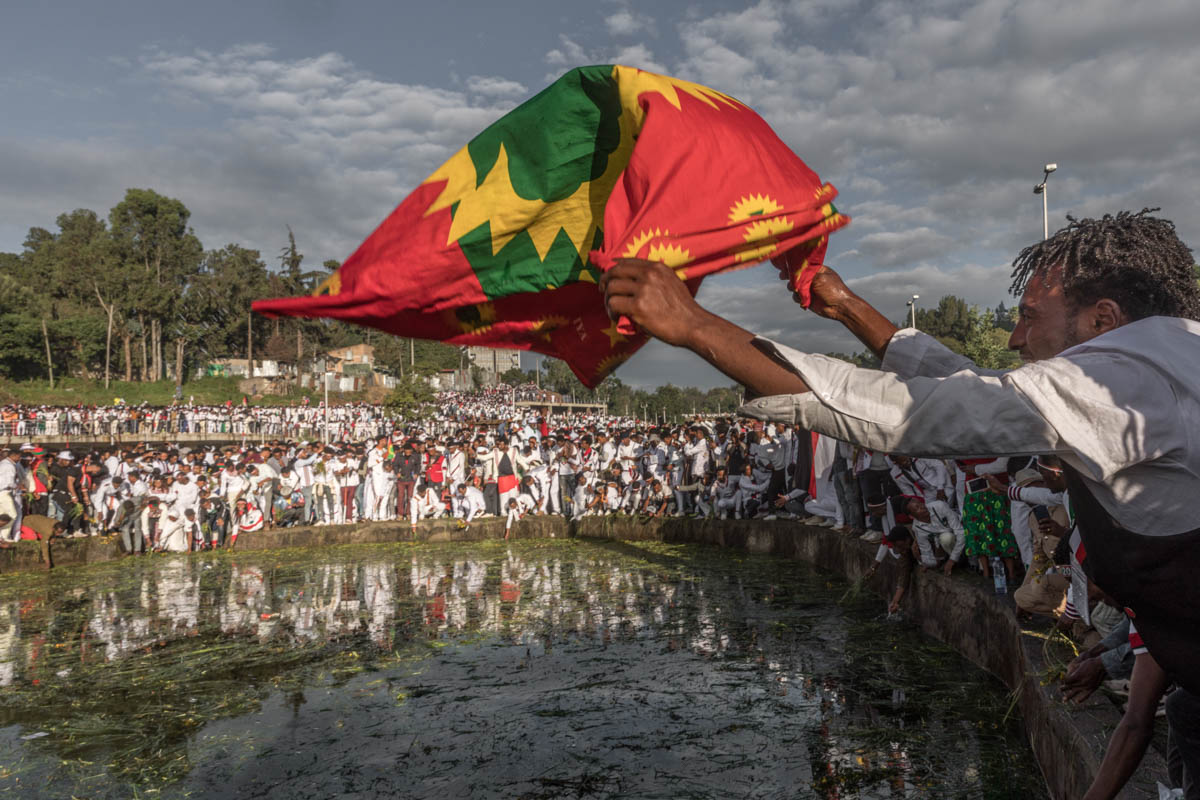 The Oromos celebrate Irreecha to thank Waaqa (God) for the blessings and mercies they received throughout the previous year. [Yonas Tadesse/AFP]