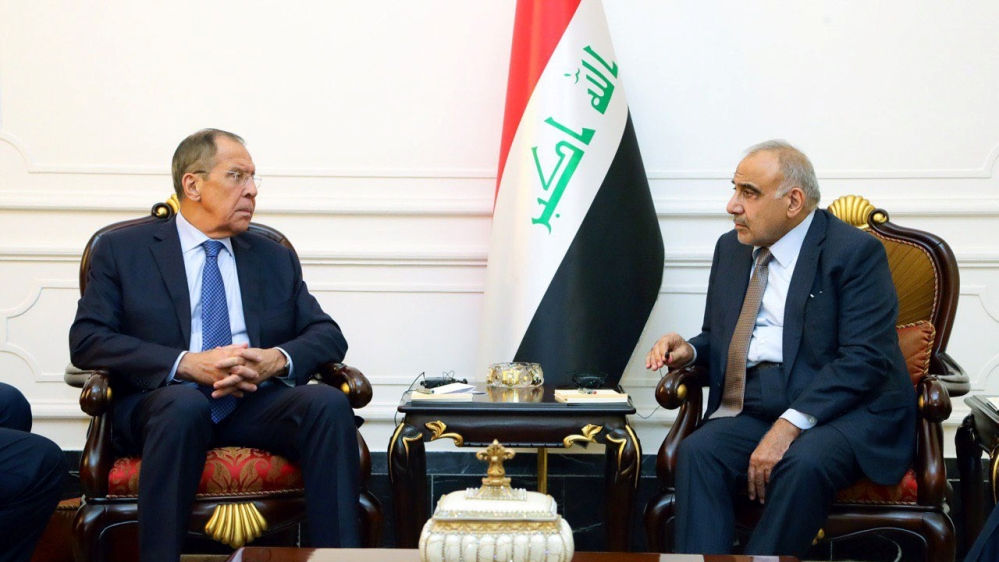 Iraqi Prime Minister Adel Abdul Mahdi meets with Russian Foreign Minister Sergei Lavrov in Baghdad, Iraq October 7, 2019