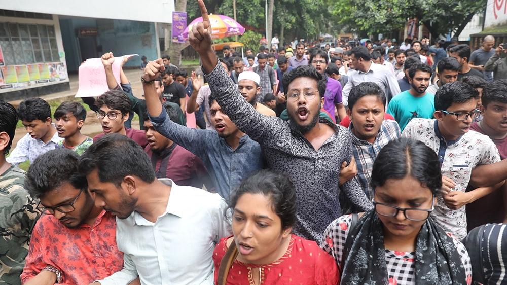 Students stage protest over alleged murder of Buet student Abrar Fahad on Monday, October 7, 2019, Dhaka, Bangladesh [Mahmud Hossain Opu/Al Jazeera]