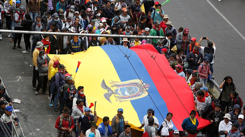 Police officers seized by Indigenous protesters following anti-government protests in Ecuador