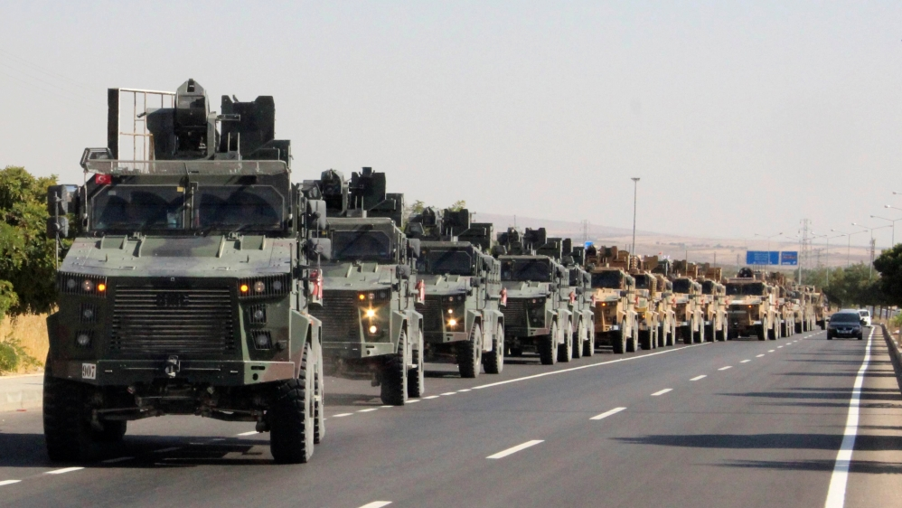 A Turkish miltary convoy is pictured in Kilis near the Turkish-Syrian border, Turkey, October 9, 2019