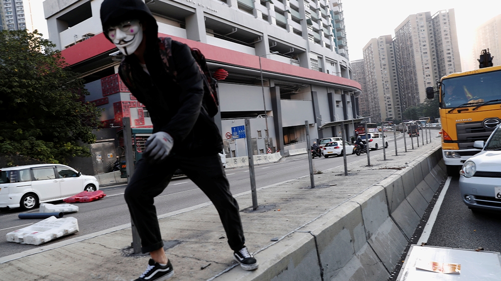 Hong Kong protests road block