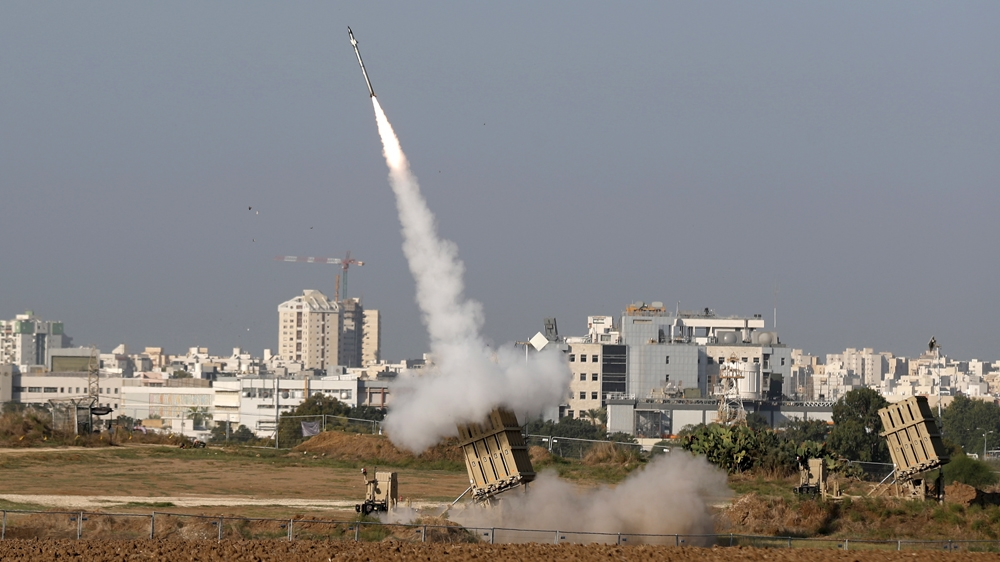missile system intercepting rockets reportedly fired from Gaza into Israel
