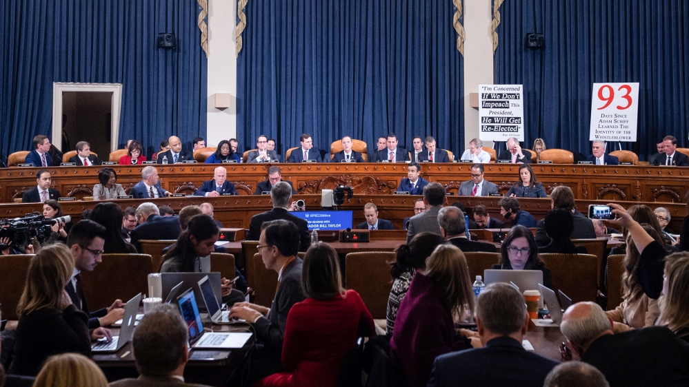 Ukrainian Ambassador William Taylor and Deputy Assistant Secretary George Kent testify during the first public hearings held by the House Permanent Select Committee on Intelligence as part of the impe
