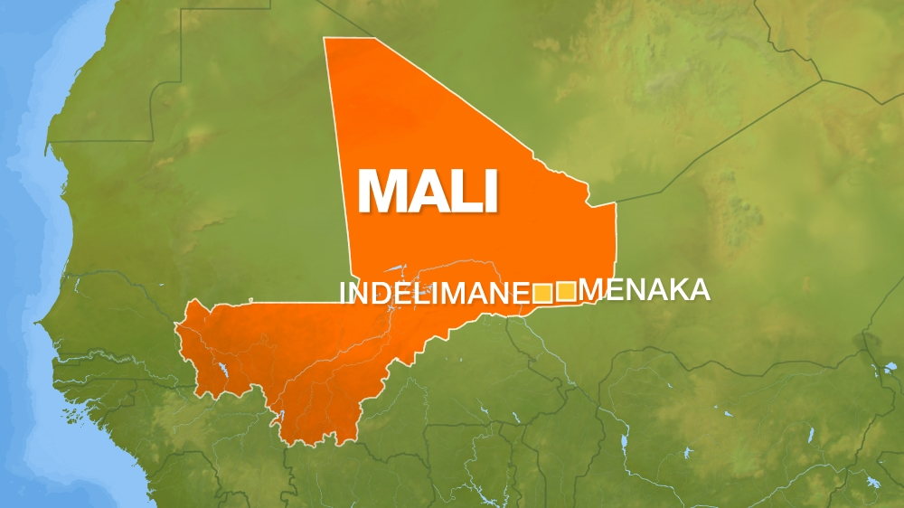 Mali map showing menaka region