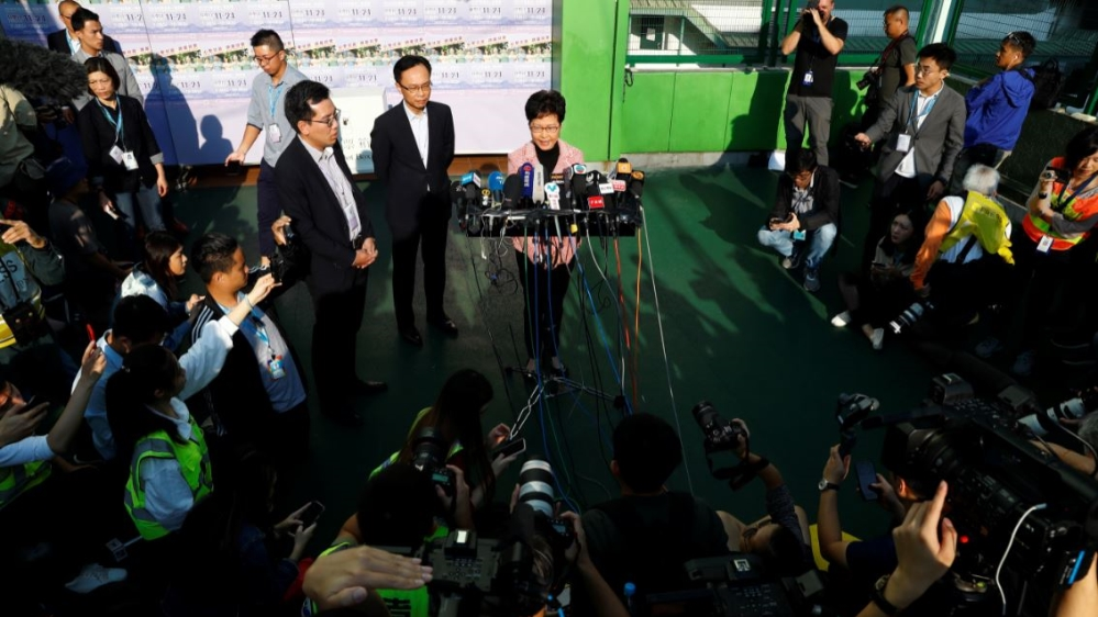 Hong Kong's pro-democracy camp makes major gains in local elections