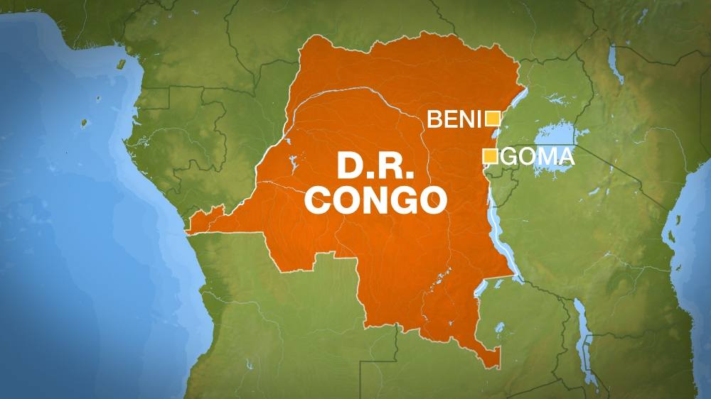 DR Congo map showing Beni and Goma