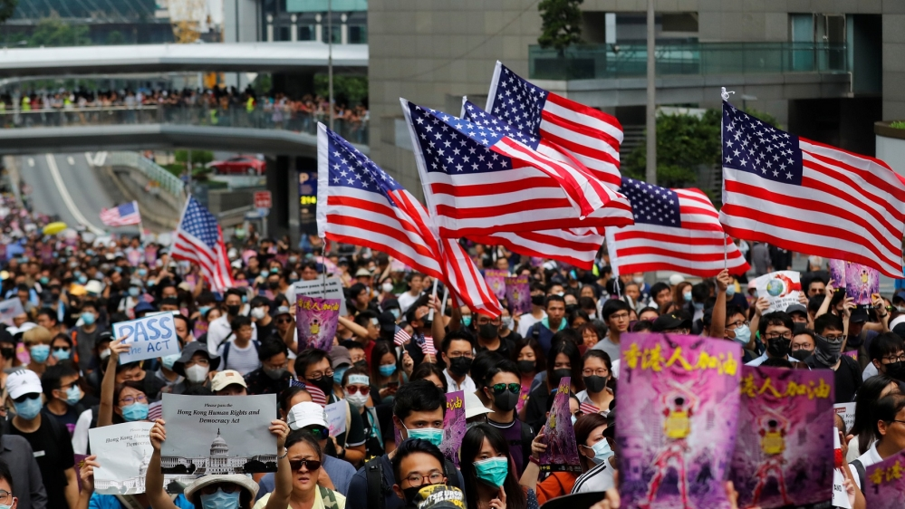 Hong Kong protest - US flag