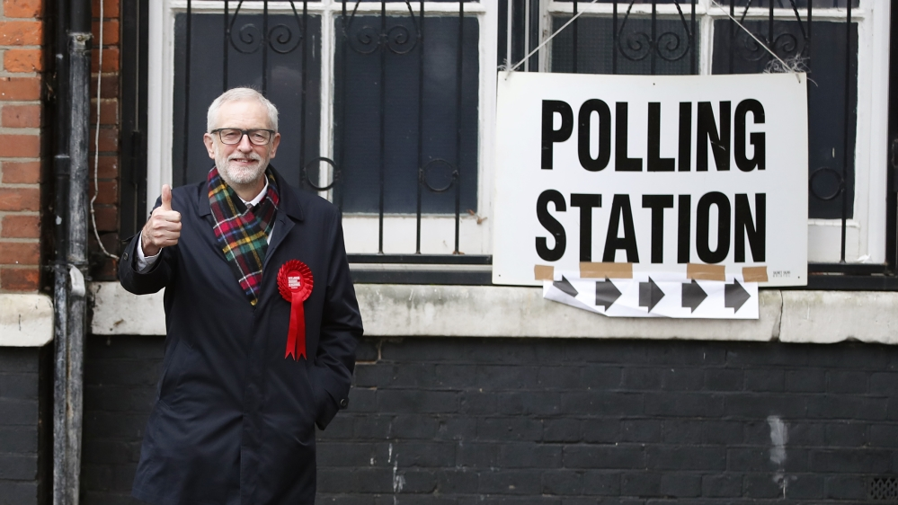 British opposition Labour Party leader Jeremy Corbyn, gestures after casting his vote in the general election, in Islington, London, England, Thursday, Dec. 12, 2019 .U.K. voters are deciding Thursday