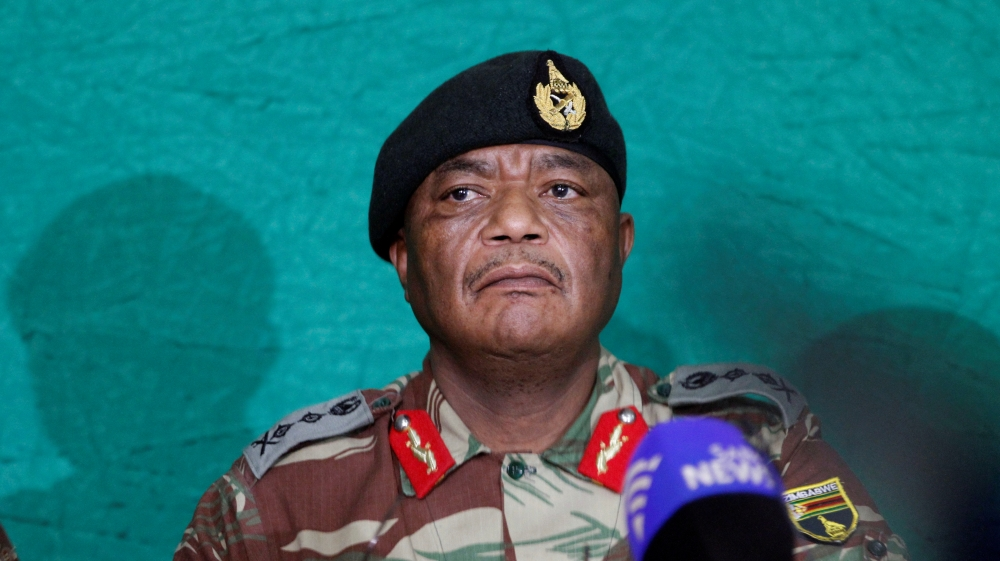 Commander of Zimbabwe Defence Forces General Chiwenga addresses the media in Harare