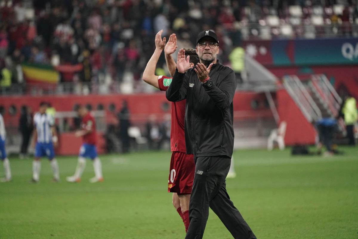Liverpool coach Jurgen Klopp celebrates the win. [Sorin Furcoi/Al Jazeera]