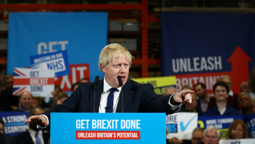 Britain's Prime Minister Boris Johnson speaks during a rally event in Colchester, Britain December 2, 2019