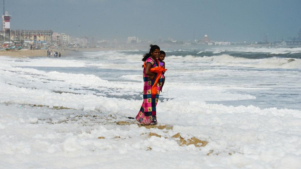 Chennai beach pollution