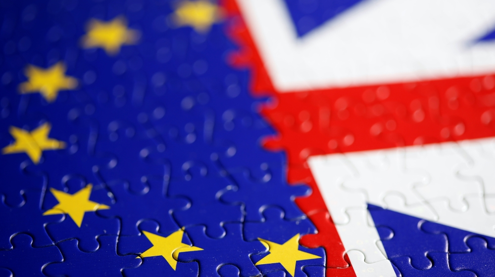 Puzzle with printed EU and UK flags is seen in this illustration taken November 13, 2019