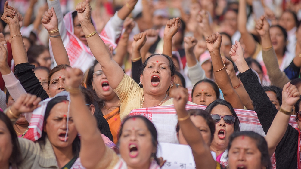 Demonstrators shout slogans during a protest against a new citizenship law, in Guwahati, India December 21, 2019. REUTERS/Anuwar Hazarika