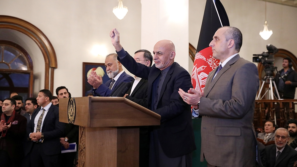 Afghanistan's incumbent President Ashraf Ghani, speaks after he won a slim majority of votes in preliminary results of presidential election, in Kabul, Afghanistan December 22, 2019. Picture taken Dec
