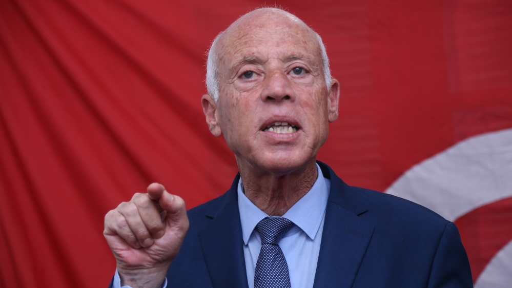Tunisian president  Kais Saied gestures as he speaks during a press conference in Tunis [Anis Mili/AFP]
