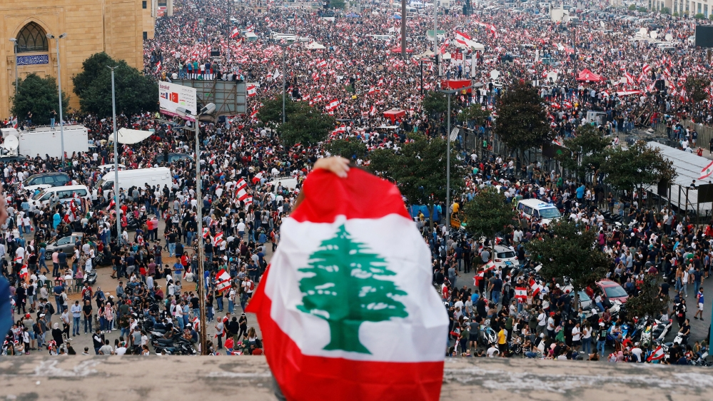A general view of demonstrators during an anti-government protest in downtown Beirut, Lebanon October 20, 2019. REUTERS/Mohamed Azakir TPX IMAGES OF THE DAY