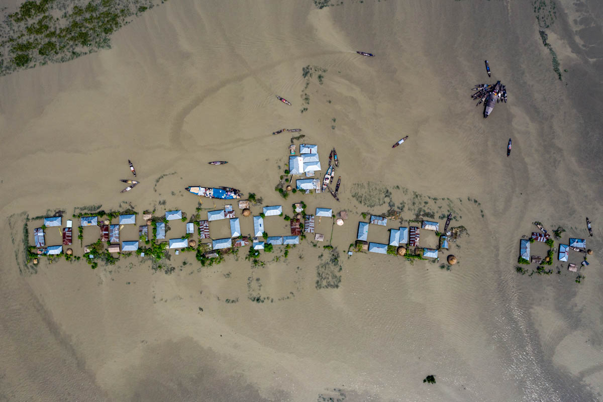 An aerial view of a flooded area of the northern district of Kurigram in Bangladesh. More than 7 million people have been affected by the flooding and about 119 people have lost their lives this year. [Zakir Hossain Chowdhury/Al Jazeera]
