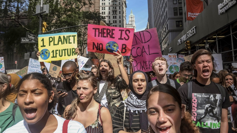 Climate change activists participate in an environmental demonstration as part of a global youth-led day of action, Friday Sept. 20, 2019, in New York. A wave of climate change protests swept across t