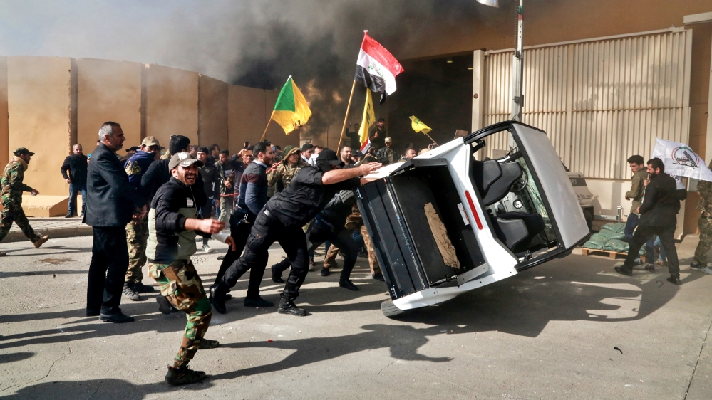 Pro-Iran protesters at US embassy in Baghdad gear up for sit-in