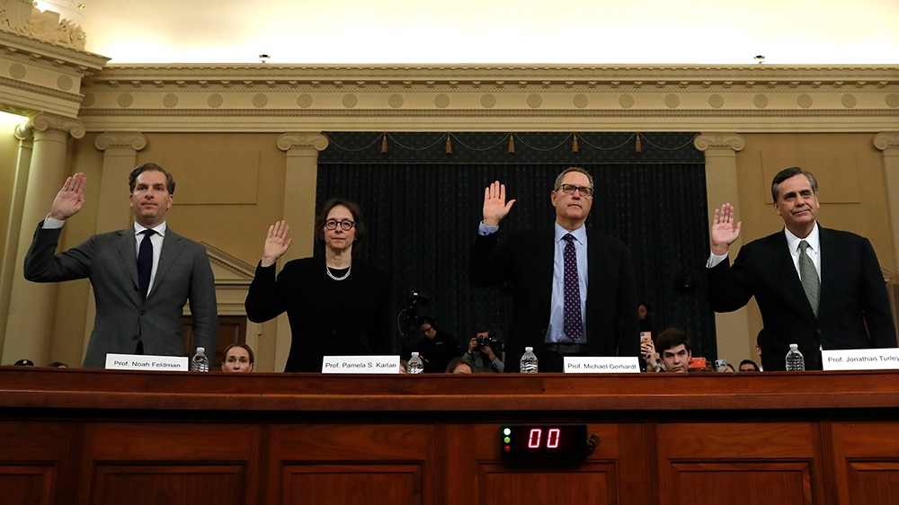 Constitutional law experts, from left, Harvard Law School professor Noah Feldman, Stanford Law School professor Pamela Karlan, University of North Carolina Law School professor Michael Gerhardt and Ge