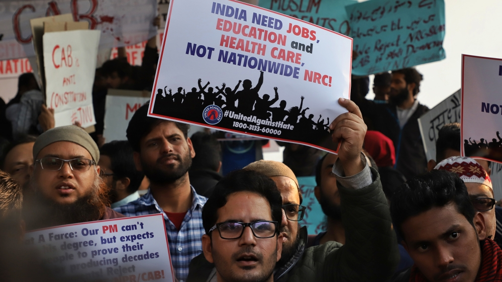 People protest against the Citizenship amendment bill and National Register of Citizens (NRC) in New Delhi, India on 07 December 2019 (Photo by Nasir Kachroo/NurPhoto via Getty Images)