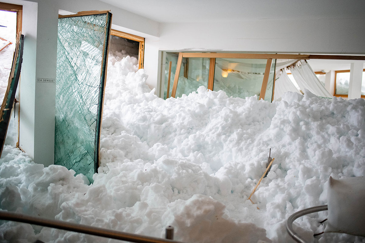 The avalanche risk continued to rise in many of the more mountainous areas of Central Europe as the snow continued to accumulate. Here, in Balderschwang, Germany, the mountain snow gave way and the avalanche came straight through this hotel lobby. [Daniel Kopatsch/EPA]