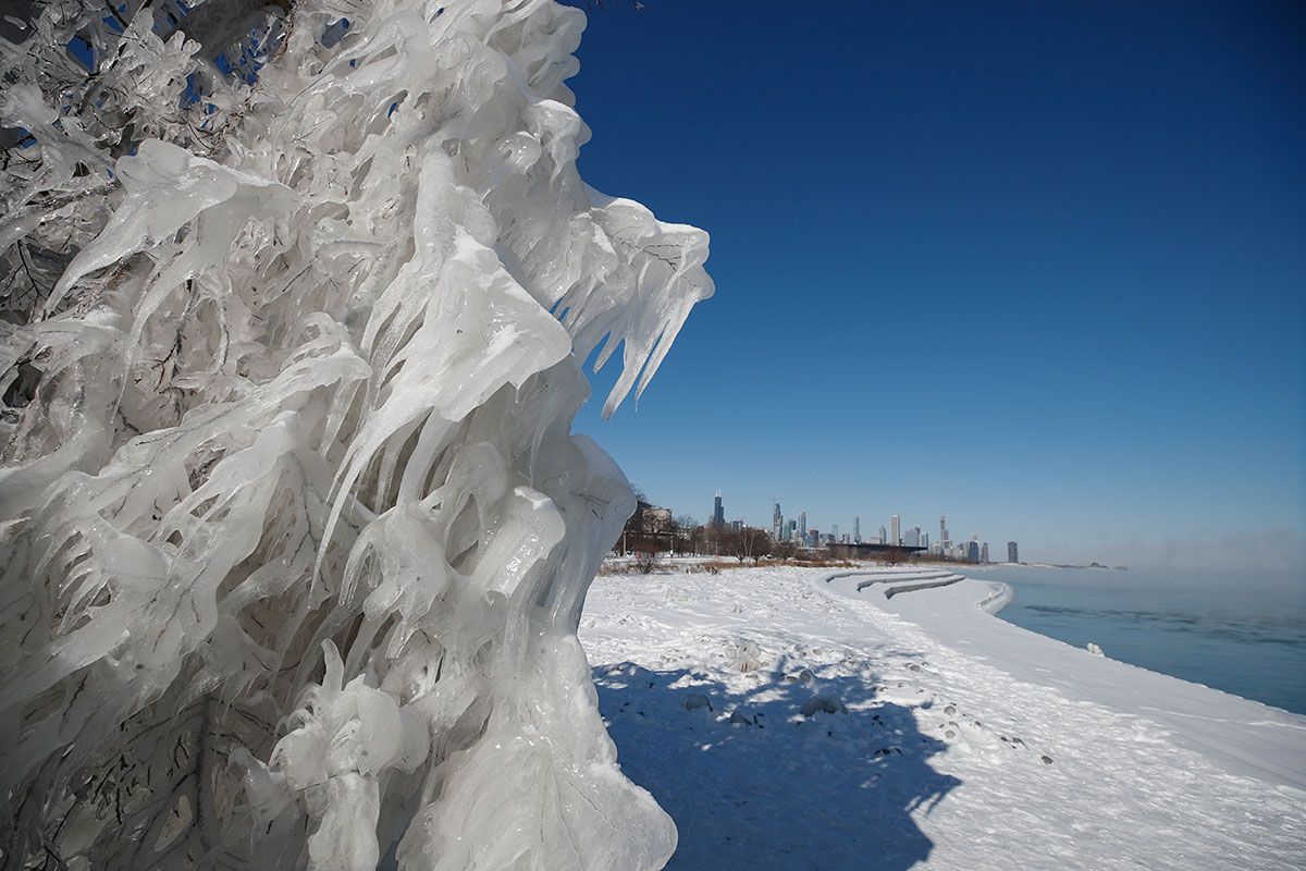 At the end of the month, the polar vortex drifted south from the Arctic and brought with it dangerously cold air and wind chills to many parts of Canada and the US. Here, in Chicago, Illinois, the spray from Lake Michigan froze as delicate icicles along the lakefront. [Kamil Krzaczynski/EPA]