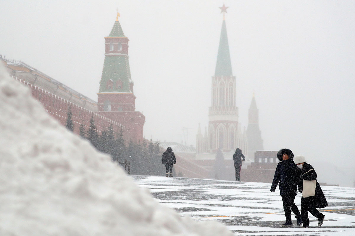 Moscow, Russia, is no stranger to winter, but snow has been heavier than average this month and piles of newly fallen snow on Red Square continue to grow. [Sergei Ilnitsky/EPA]