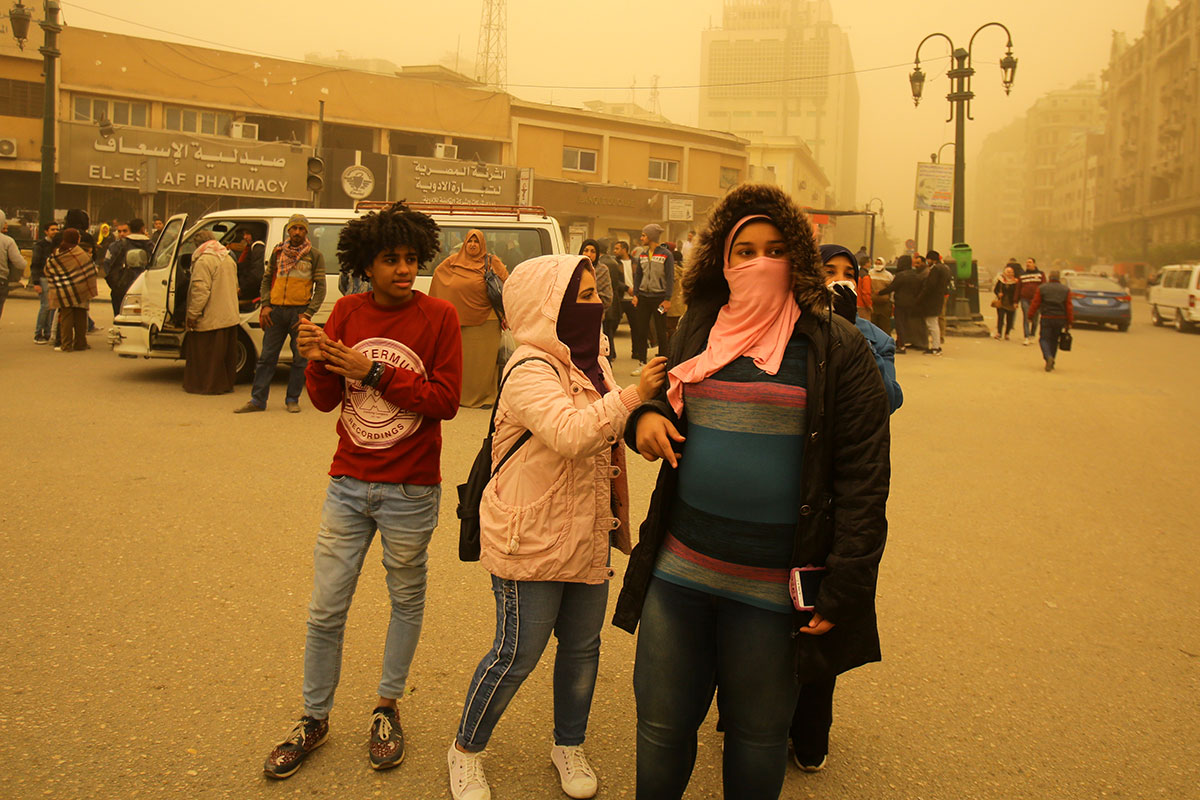 A strong storm that moved into the eastern Mediterranean Sea impacted many countries across the region, but here in Cairo, Egypt, it was a sandstorm that was kicked up by the strong winds. The sandstorm continued east into the Levant and Arabian Peninsula. [Khaled Elfiqi/EPA]