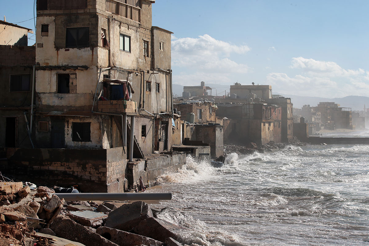 The same storm that caused the sandstorm in Egypt led to strong coastal waves to Lebanon. Thousands of people were displaced as their homes were damaged or destroyed. [Nabil Mounzer/EPA]